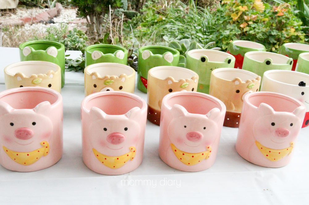 Cute character pots from Daiso. I gave these away as favors.