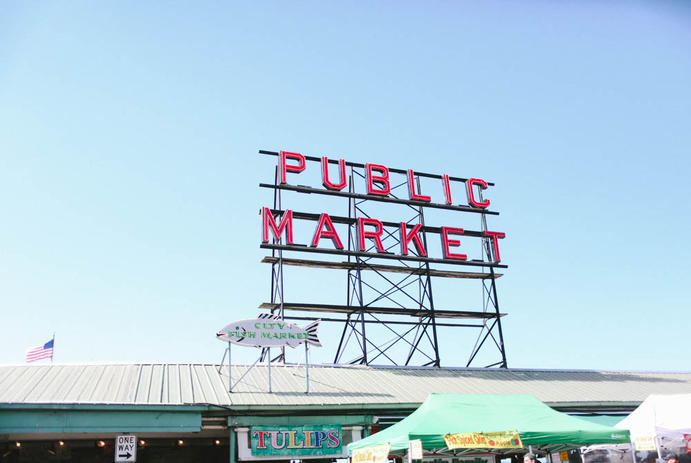 Public Market Sign right across from the First Starbucks