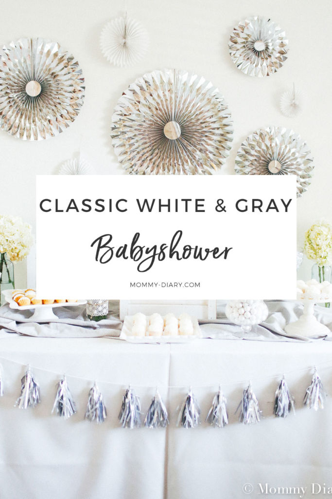 Classic Gender Neutral White Gray Baby Shower Mommy Diary