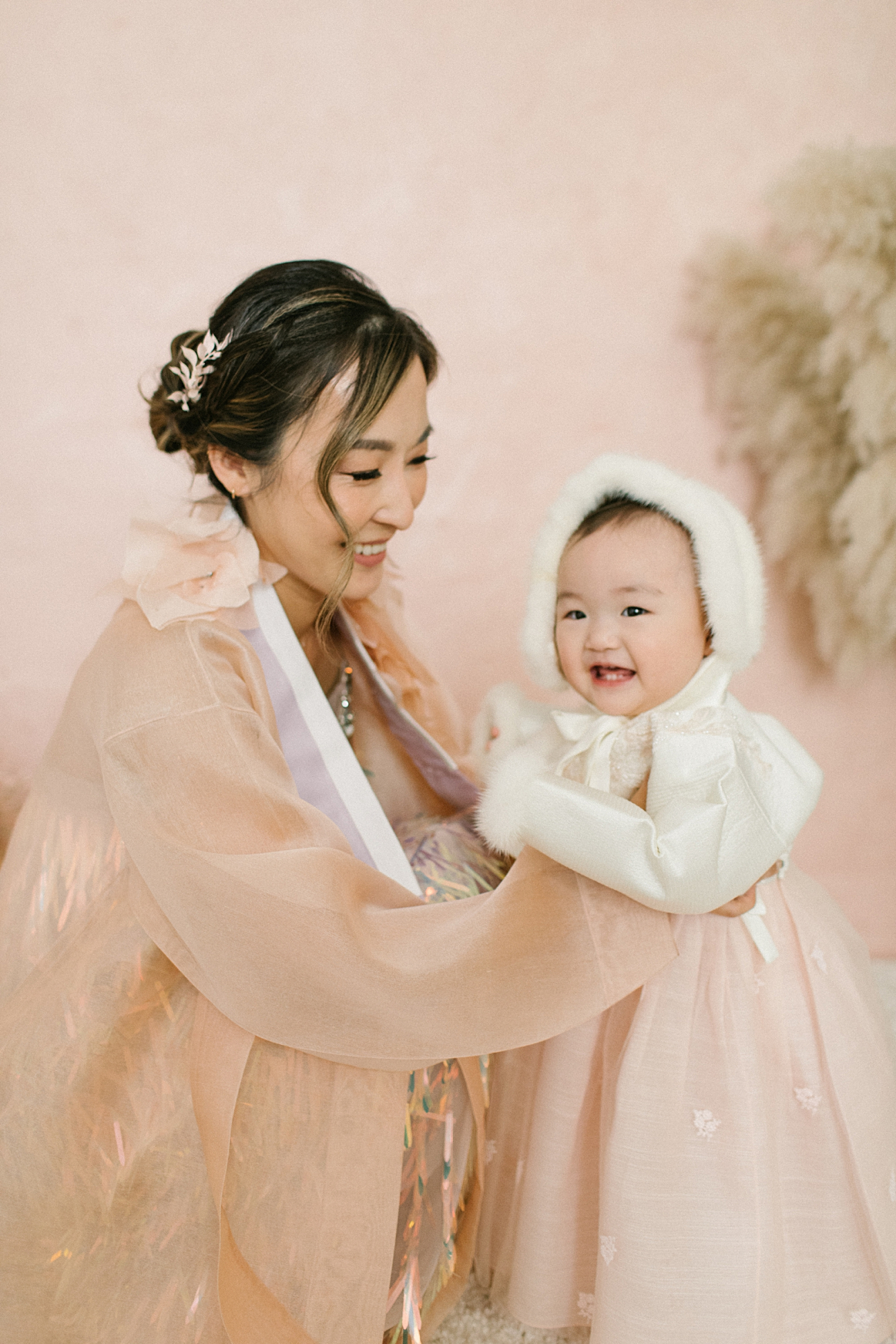Modern Korean Hanbok Outfits for Mom and Baby