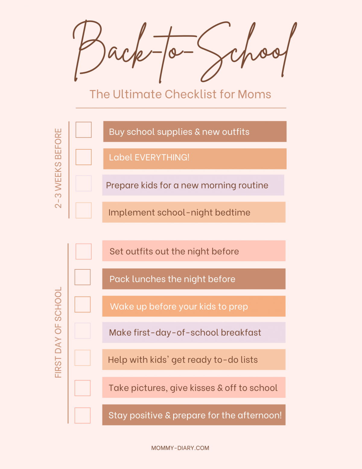 Back-to-School Checklist for moms