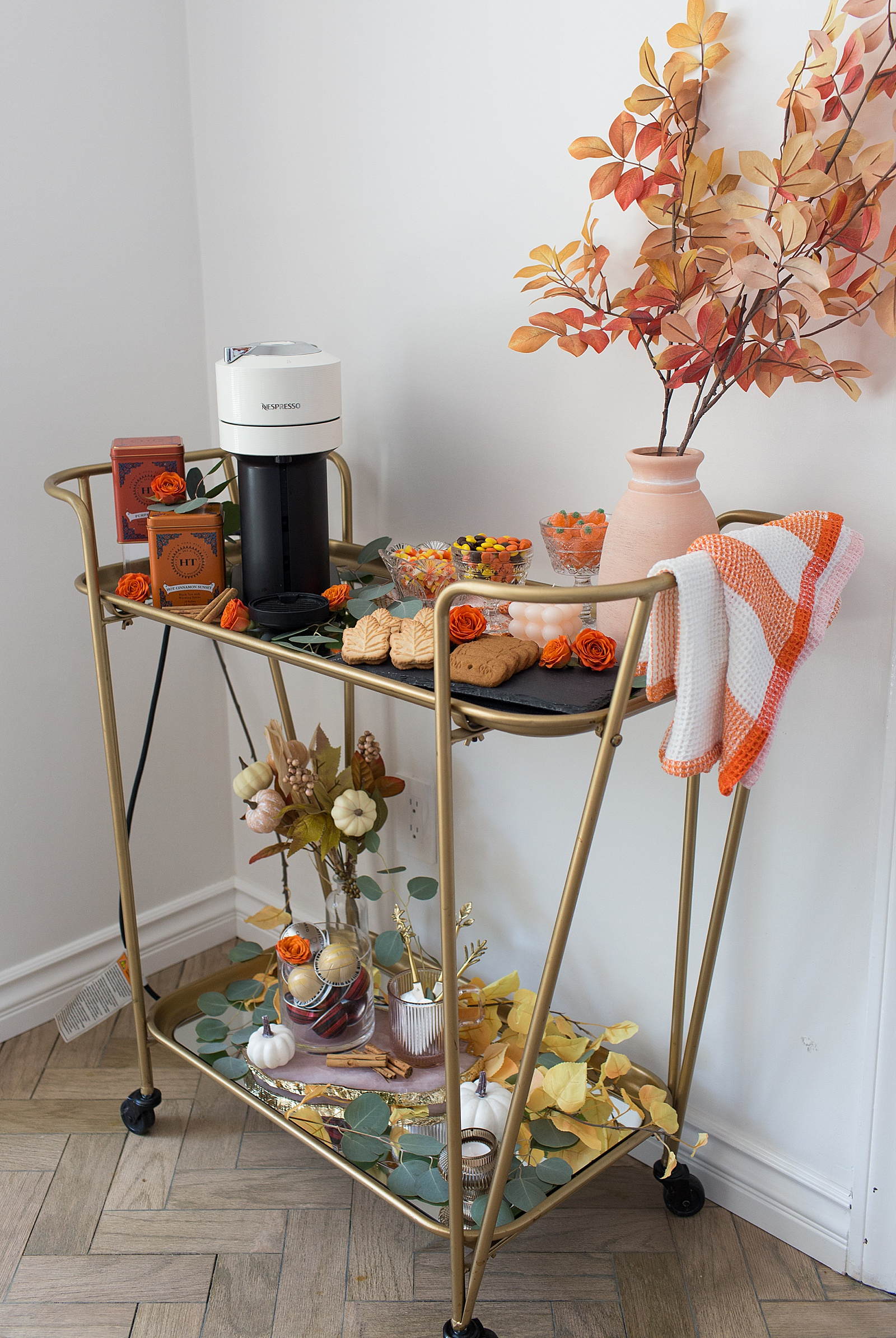 How to Style a Fall Coffee Cart